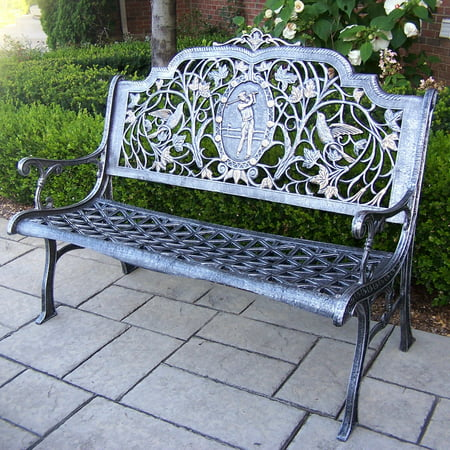 Oakland Living Golfer Cast Aluminum 50 in. Antique Pewter Bench