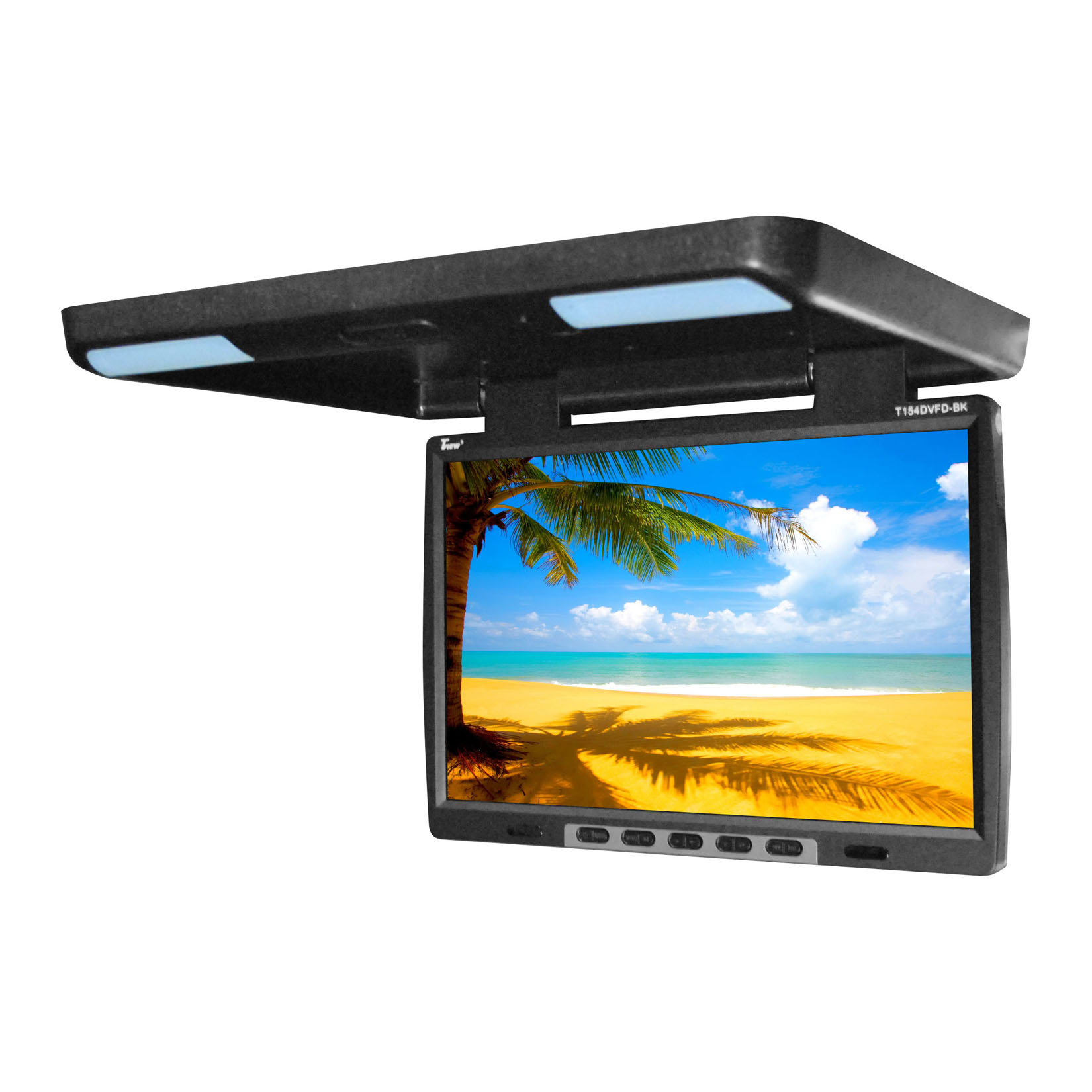 "Tview T154DVFDBK 15.4"" Flip Down Monitor With Built In Dvd Ir/fm Trans Black"