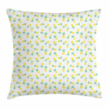 Hawaii Throw Pillow Cushion Cover, Doodle Style Pineapple Hand Drawn Exotic Fruits Pattern Stripes and Dots, Decorative Square Accent Pillow Case, 16 X 16 Inches, Yellow and Sea Green, by Ambesonne - Fruit Of The Sea