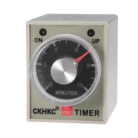 DC12V 10M 8 Terminals Range Adjustable Delay Timer Time Relay AH3-3