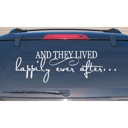 Decal ~ AND THEY LIVED HAPPILY EVER AFTER #2 White ~ WALL OR AUTO DECAL 10