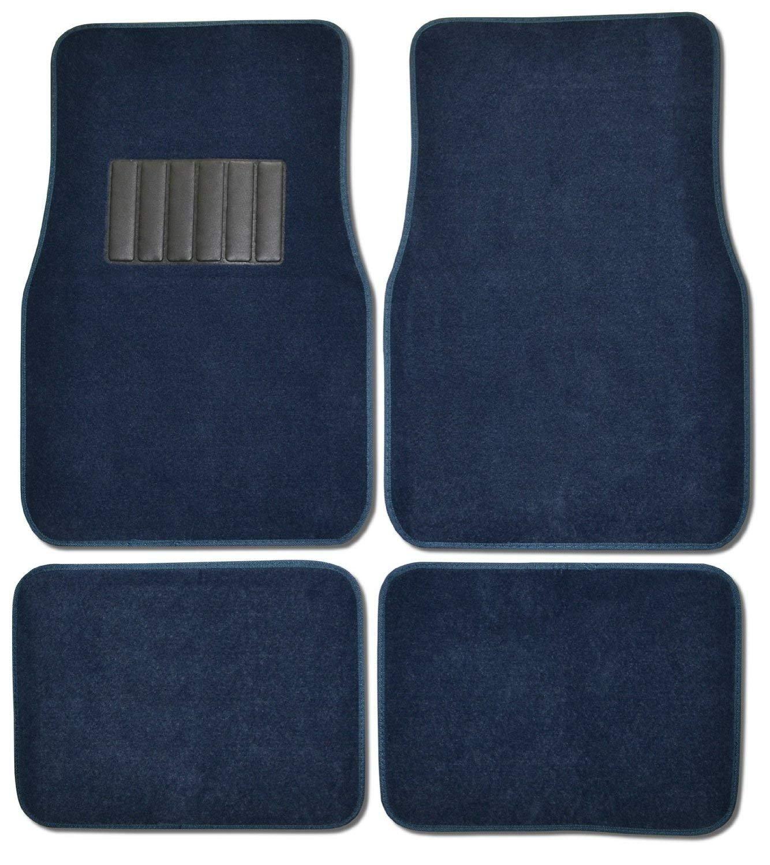 Premium Carpet 4PC Front & Rear Driver Passenger Floor Mats Cars Trucks Sedans SUVs (Blue)
