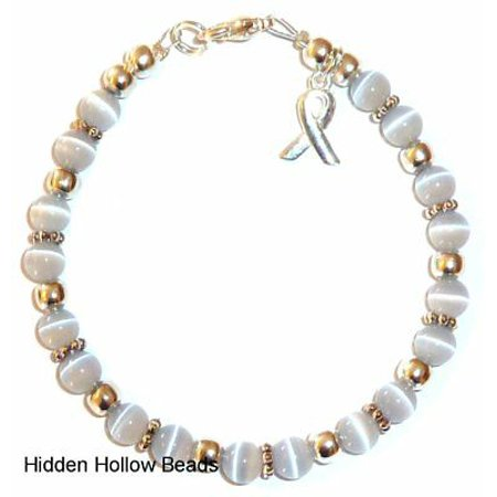 Brain Cancer Awareness Bracelet By Hidden Hollow Beads 7 3 4 In Fits Most S Lobster Clasp Gray
