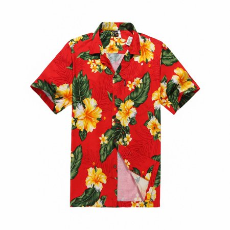 ae66dfc7e Hawaii Hangover - Hawaiian Shirt Aloha Shirt in Red with Yellow Floral -  Walmart.com