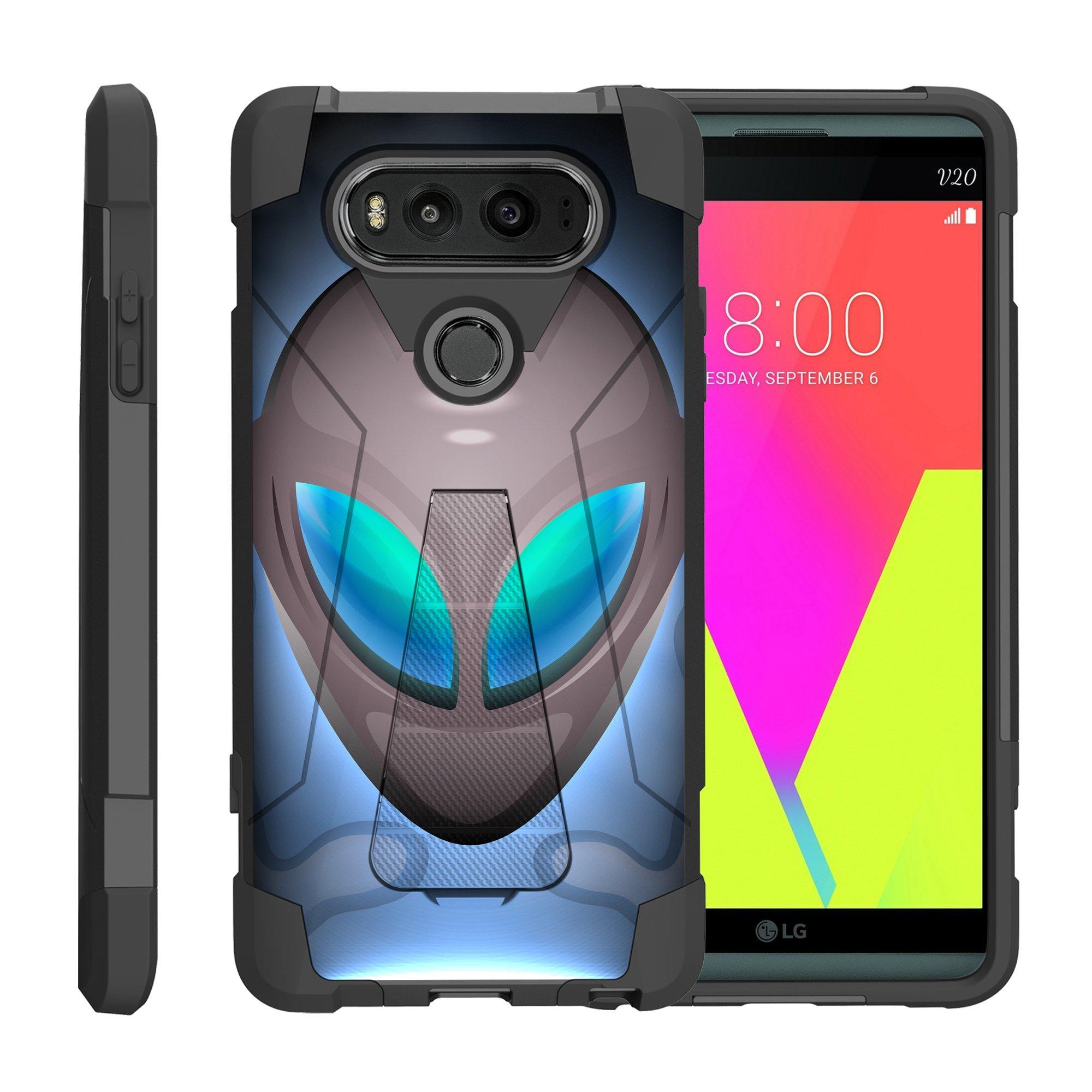 TurtleArmor ® | For LG V20 VS995, H990, LS997 [Dynamic Shell] Dual Layer Hybrid Silicone Hard Shell Kickstand Case - Alien Mind Warp