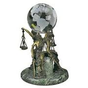 Sitting Lady Justice  4-in. Diam. Desk Globe