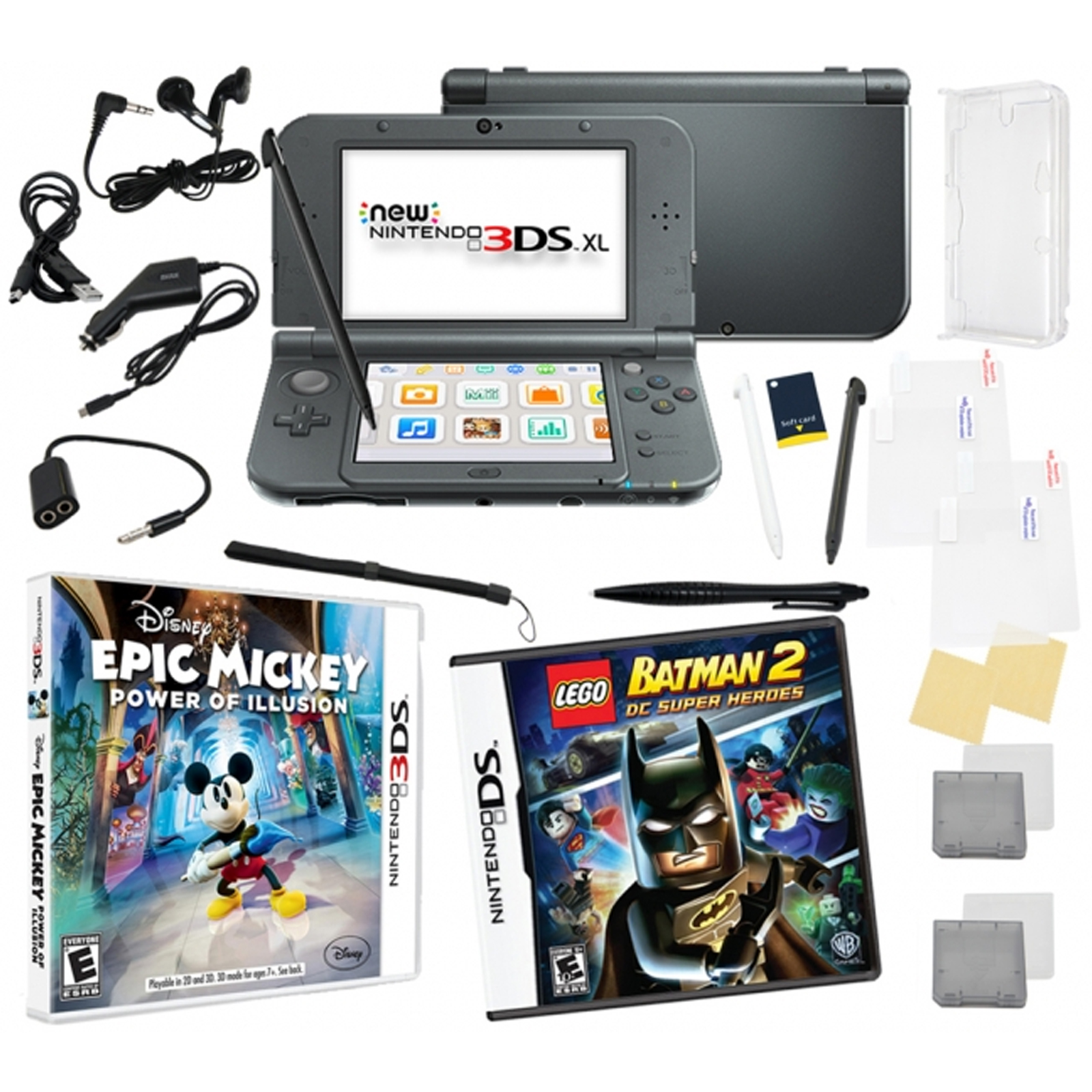 New Nintendo 3DS XL Black Bundle with 2 Games & 17 in 1 Kit