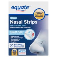 Equate Smart-Flex Medium Strength Clear Nasal Strips, 30 count