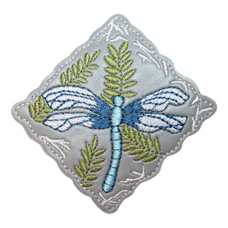 Embroidered Emblems (ID 1687 Dragonfly Badge Patch Garden Craft Emblem Embroidered Iron On)