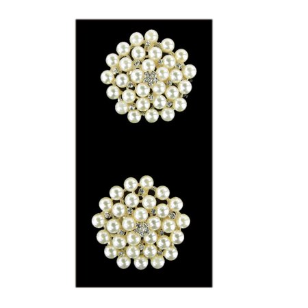 Pearl Cluster Rhinestone Crystal Brooches, White, 1-3/4-Inch, 2-Piece