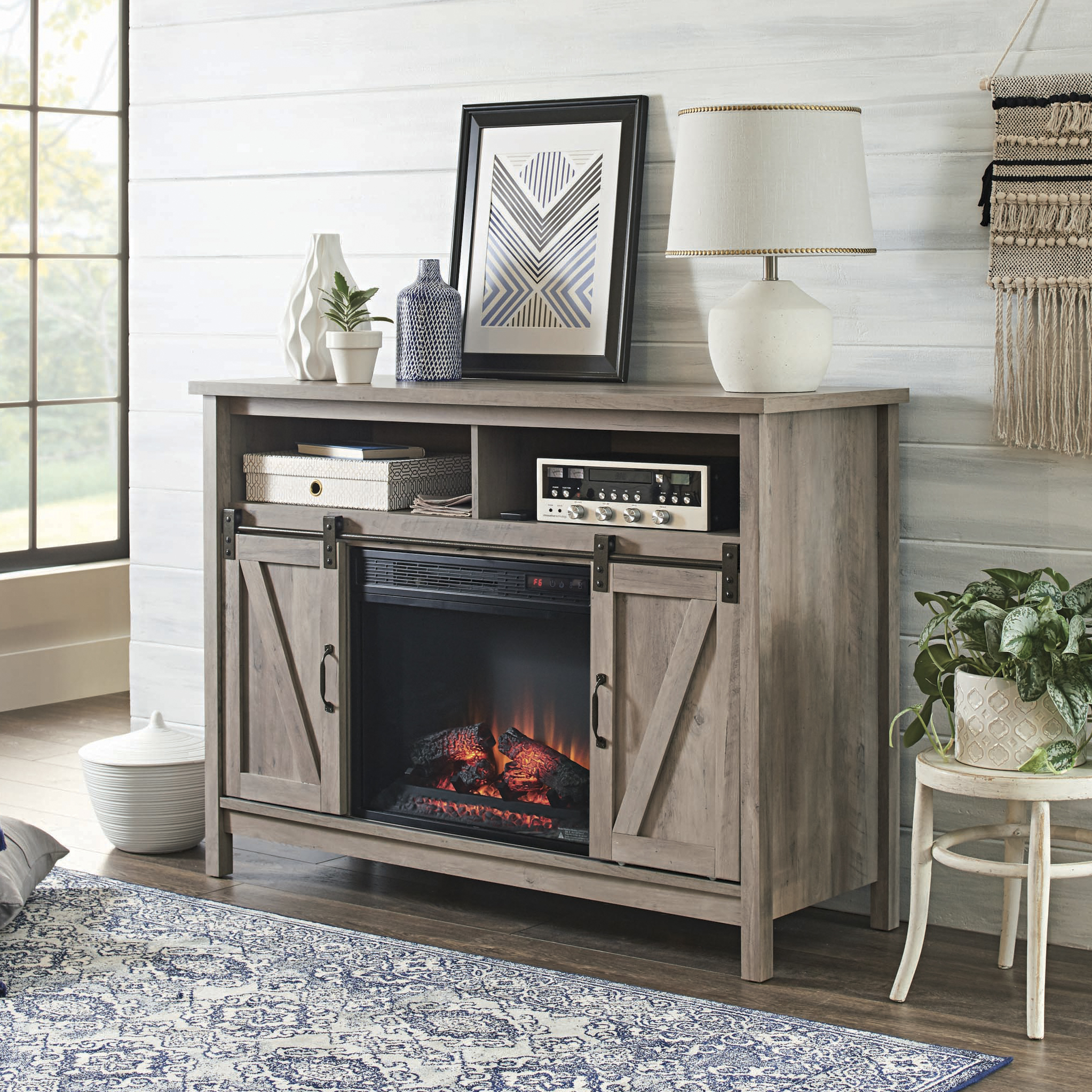 Better Homes & Gardens Modern Farmhouse Fireplace Credenza for TVs up to  10