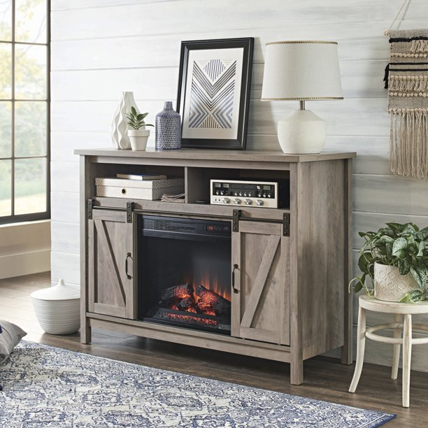 "Better Homes & Gardens Modern Farmhouse Fireplace Credenza for TVs up to 50"", Rustic Gray Finish"