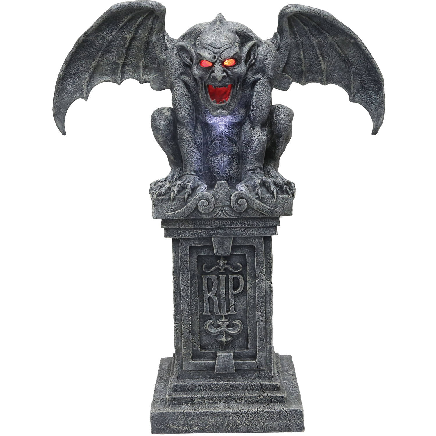 Life size haunted rip gargoyle statue animated halloween for Animated halloween decoration