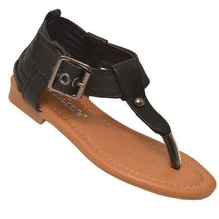 Girls Black Buckled Ankle Strap Metal Stud Flip-Flop Sandals