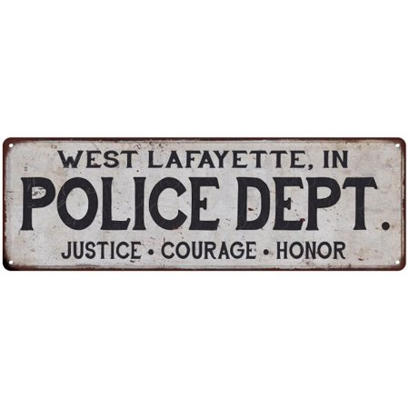 WEST LAFAYETTE, IN POLICE DEPT. Vintage Look Metal Sign Chic Decor Retro 6183559 - Party City West Lafayette