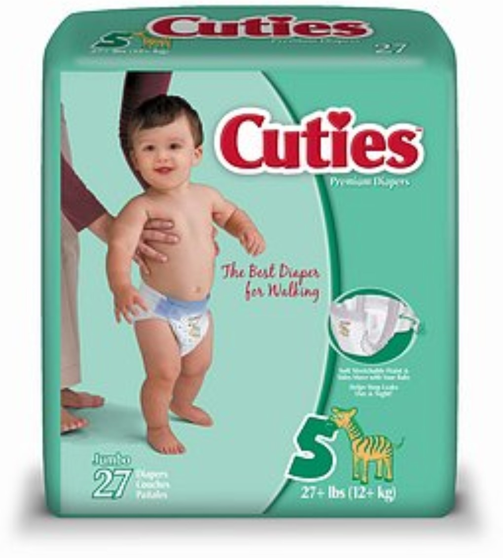 Cuties Premium Diapers Size 5 27 Each [4 packs per case] (Pack of 6)