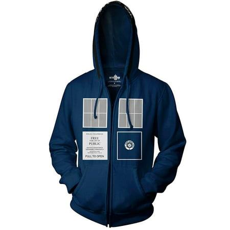 Doctor Who Tardis Adult Navy Zip-Up Sweatshirt Hoodie - Doctor Who Hoodie