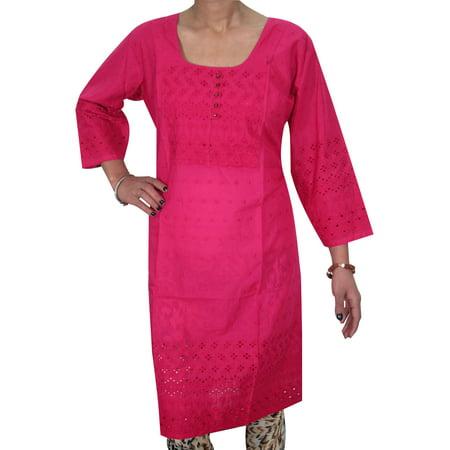 Chudidar Kurta Dress - Mogul Woman's Pink Tunic Dress Kurta Cotton Long Kurti Dress