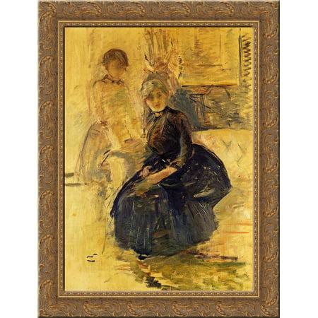 Self Portrait with Julie (study) 20x24 Gold Ornate Wood Framed Canvas Art by Morisot, Berthe - Julie Ann Art Halloween Costumes