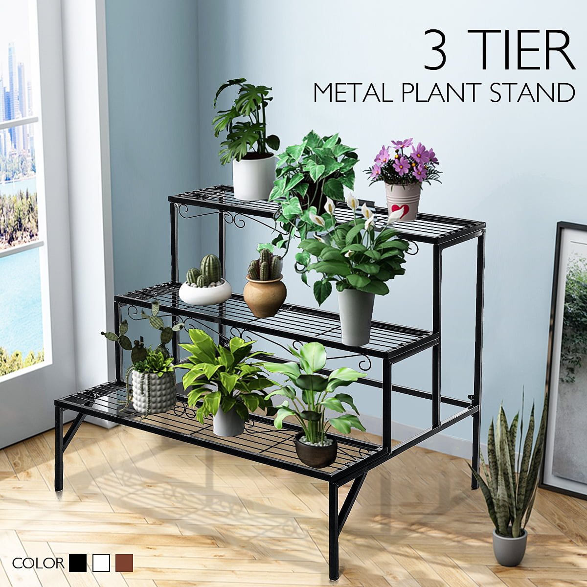 3 Tier Plant Stand Flower Stand Indoor Outdoor Metal Stands For Multiple Plants Ladder Potted Shelf Holder Rack Walmart Com Walmart Com