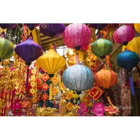 Vietnam, Hanoi. Tet Lunar New Year, Holiday Decorations for Sale Print Wall Art By Walter - Lunar New Year Decorations