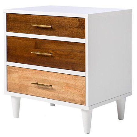 Tone Solid Wood (ModHaus Living Mid Century Modern Wood 2 Toned Accent Nightstand with 3 Drawers and Solid Wood Legs - Includes Pen )