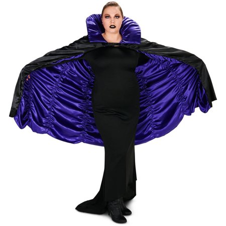 Purple and Black Reversible Cape Adult Plus Halloween Accessory