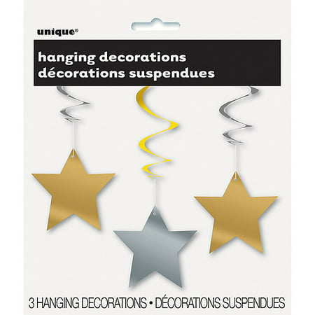 Gold and Silver Star Hanging Decorations, 26in, 3ct (Silver Stars Decorations)
