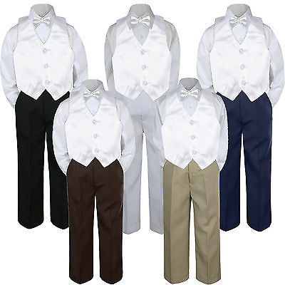 4pc Snow White Vest Bow Tie Suit Pants Set Baby Boy Toddler Kid Uniform S-7