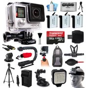 GoPro HERO4 Hero 4 Black Edition 4K Action Camera Camcorder with 64GB MicroSD, 3x Battery, Charger, Backpack, Chest Harness, Handle, Tripod, Car Mount, LED Light, Helmet Strap, Cleaning Kit(CHDHX-401)