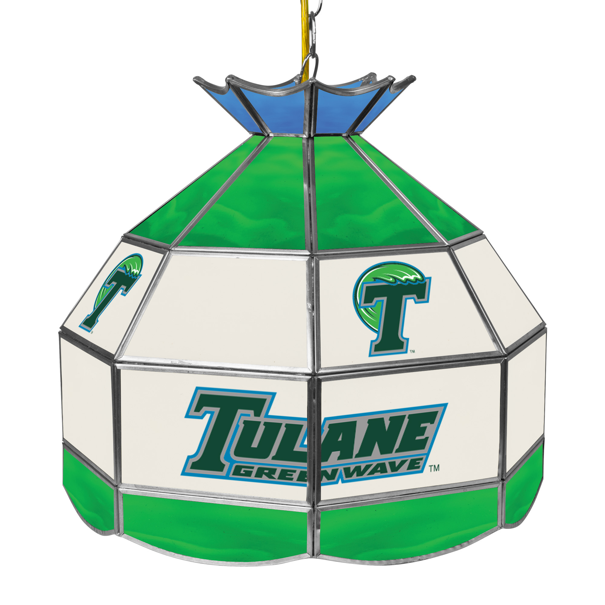 "NCAA Tulane University 16"" Stained Glass Tiffany Lamp Light Fixture"