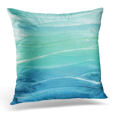 ARHOME Green Ombre Abstract Watercolor Like Sea Waves Blue Watercolour Pillows case 20x20 Inches Home Decor Sofa Cushion Cover