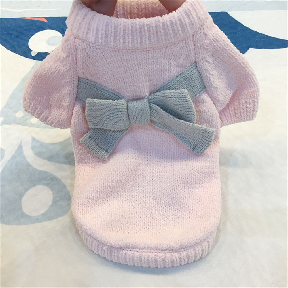 CARLTON Pet Clothes Puppy Solid Color Bow-Knot Sweater Cute Sweater Autumn And Winter