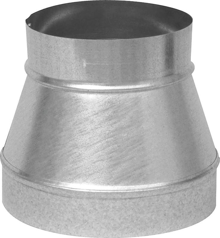 Imperial GV1202 Stove Pipe Reducer, 7 X 6 in, Uncrimped, 26 ga, Galvanized