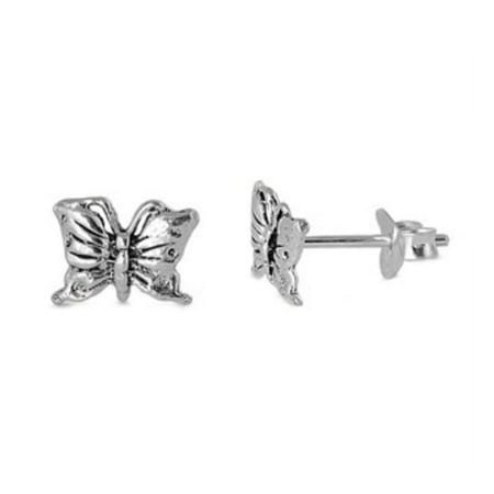 Sterling Silver Butterfly Earrings (925 Sterling Silver Butterfly Stud)