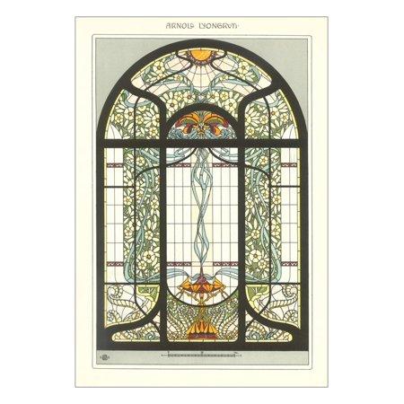 Art Nouveau Stained Glass Print Wall Art Art Nouveau Stained Glass