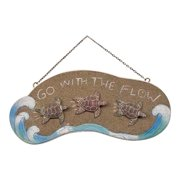 Go With the Flow Sea Turtles Wooden Plaque 14 Inch Sign Wall Decor