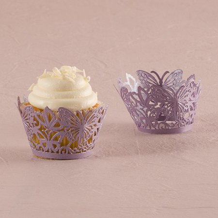 Pink Beautiful Butterfly Filigree Paper Laser Cupcake Wrappers