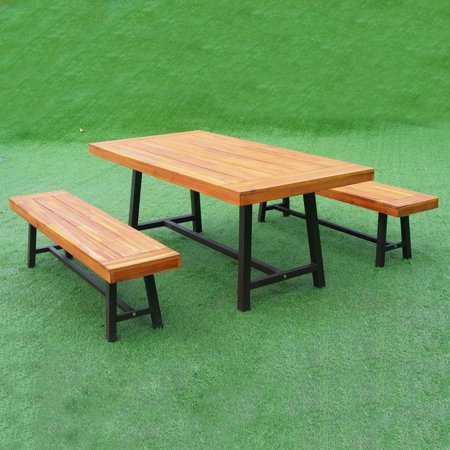 Outsunny 3 Piece Acacia Wood 71 In Outdoor Picnic Table