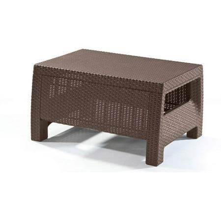 Keter Corfu Resin Coffee Table, All Weather Plastic Patio Furniture, Brown  Rattan - Keter Corfu Resin Coffee Table, All Weather Plastic Patio