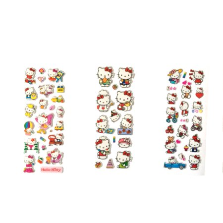 Hello Kitty Style 3D Peel and Stick Puffy Colorful Stickers 50+ Piece Average, (Hello Kitty Peel)