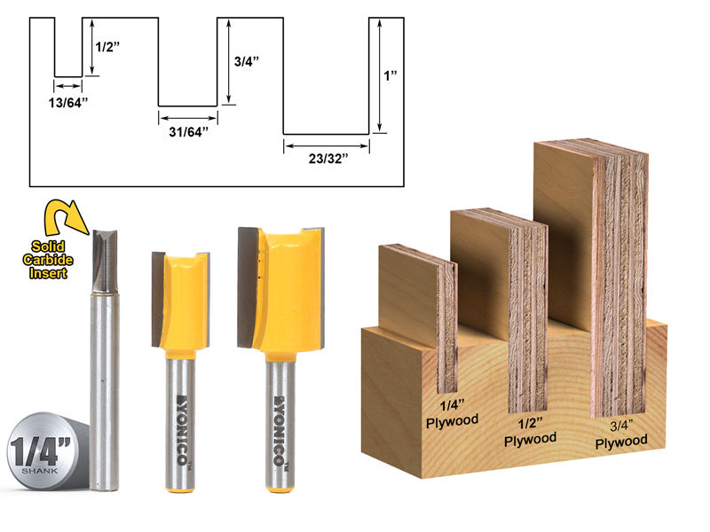 "3 Bit Undersize Plywood Dado Router Bit Set 1 4"" Shank Yonico 14323q by Yonico"