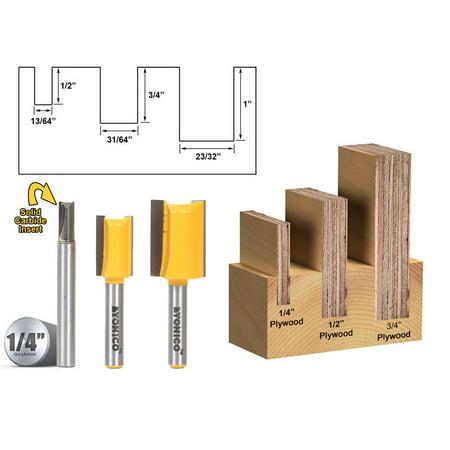 3 Bit Undersize Plywood Dado Router Bit Set - 1/4