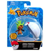 Pokemon TOMY Clip n Carry Pokeball Chespin & Premier Ball Figure Set