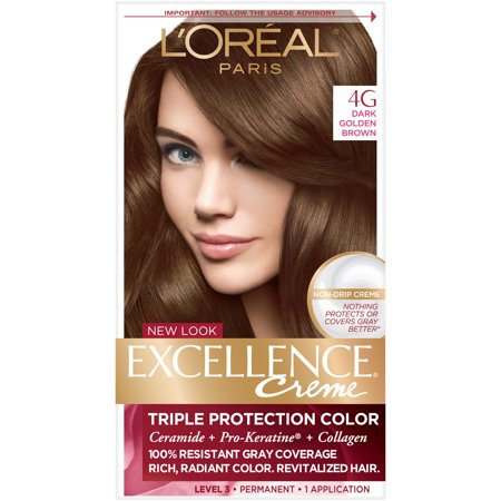 Dark Red Hair Spray (L'Oreal Paris Excellence Créme Permanent Triple Protection Hair Color, 4G Dark Golden Brown, 1)