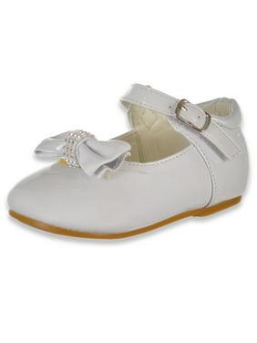 Angels Girls' Bejeweled Bow Mary Jane Shoes (Sizes 2 - 6)