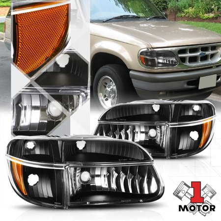 Black Housing Headlight Amber Turn Signal For 95 01 Ford Explorer 97 Mountaineer 96 98 99 00