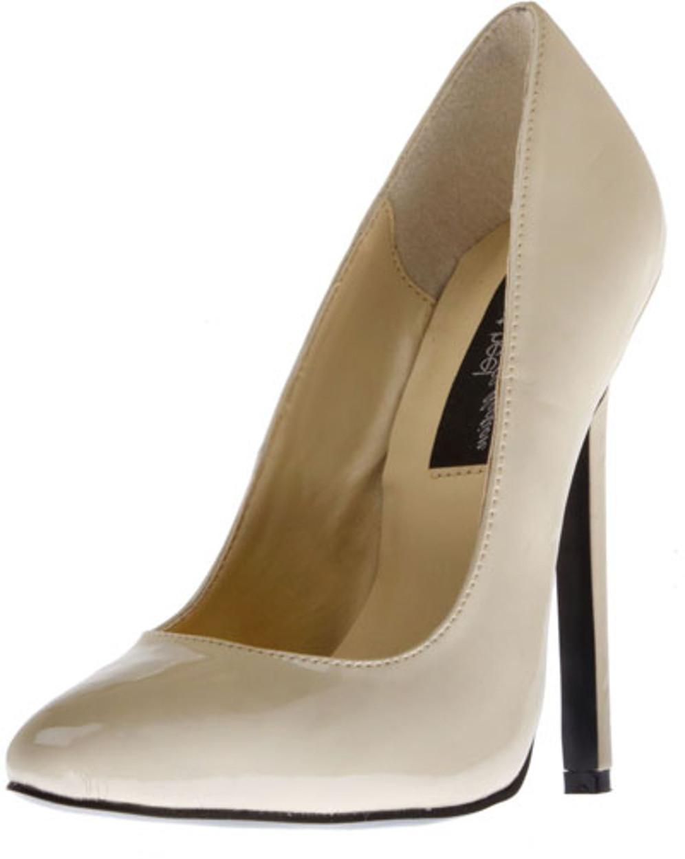 """Women's Highest Heel Shoes 5 1/4"""" Heel Pump - Beige Patent"""