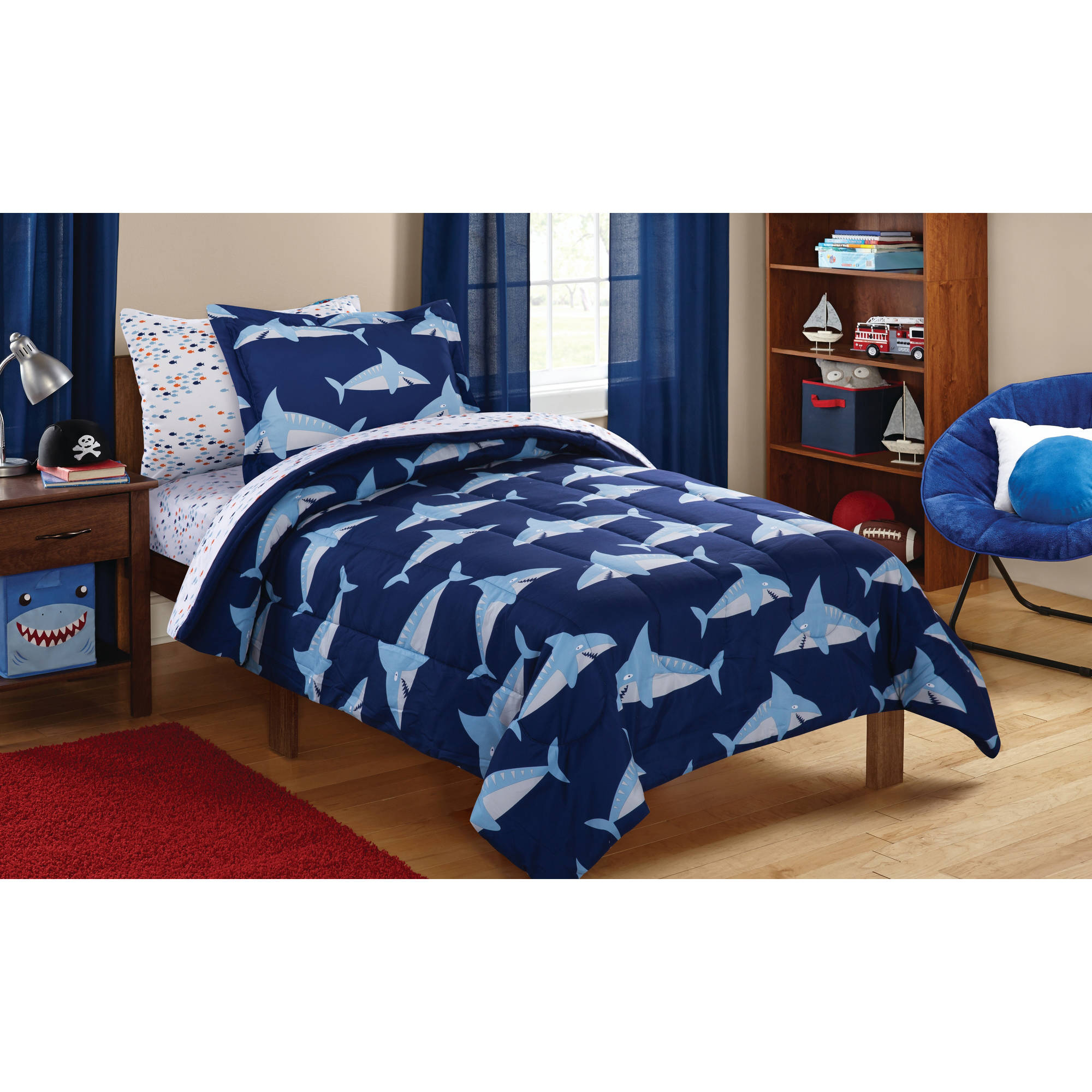 Mainstays Kids Sharks Coordinated Bed in a Bag Complete Bedding Set by Keeco