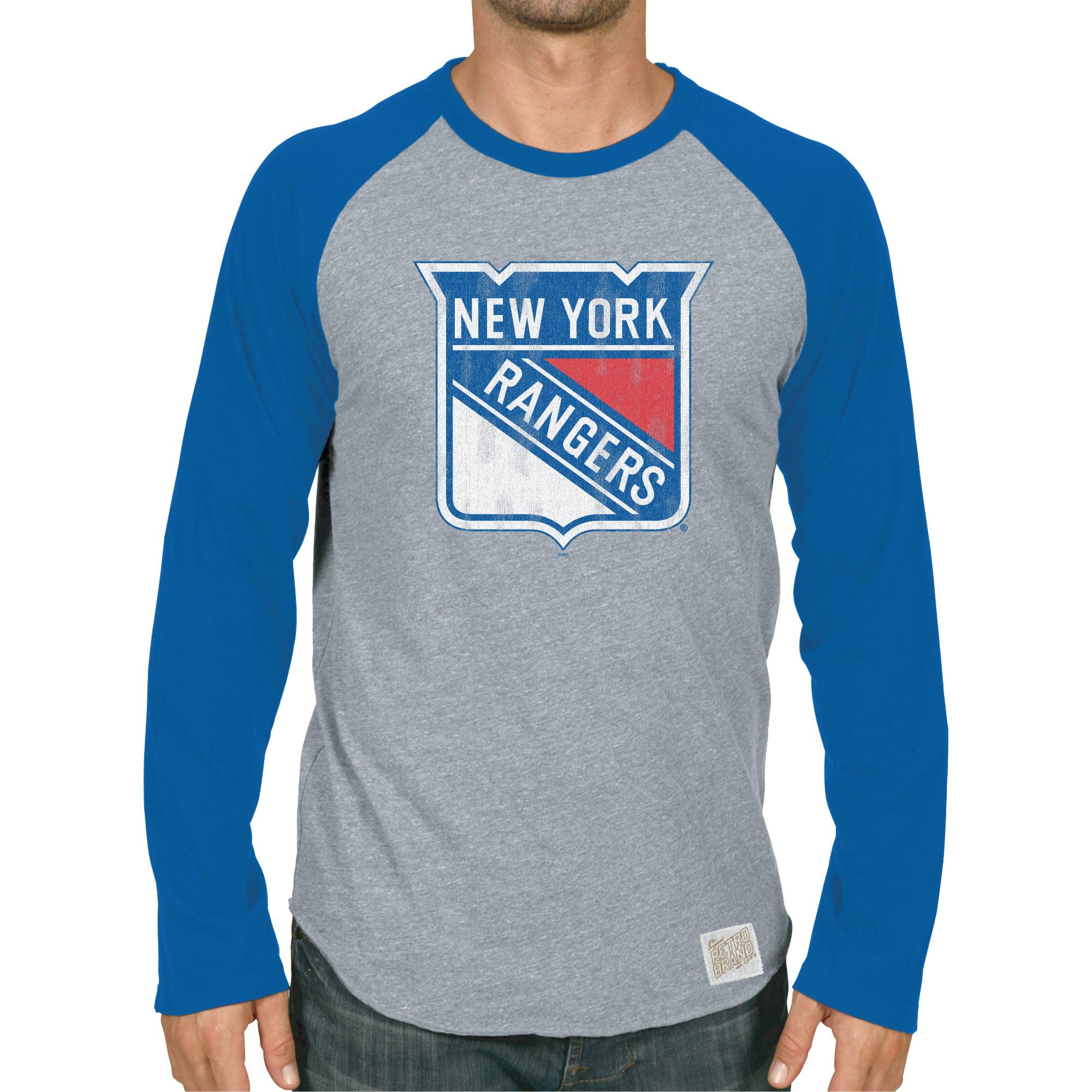 New York Rangers Original Retro Brand Raglan Long Sleeve T-Shirt - Heather Gray/Blue
